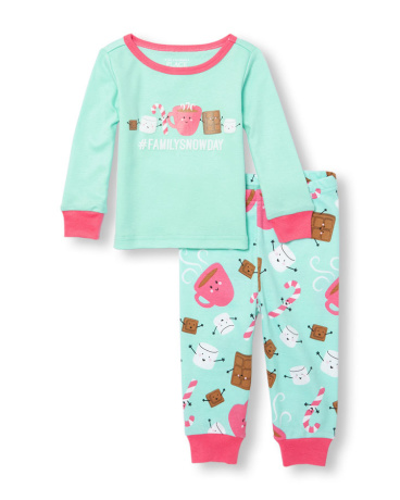 Baby And Toddler Girls Long Sleeve 'Hashtag Family Snow Day' Graphic Top And Dessert Printed Pants PJ Set