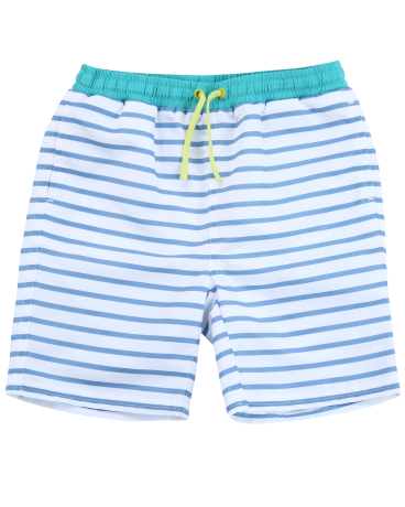 Boys Blue Stripe Drawstring Swim Trunk