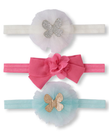 Baby Girls Butterfly And Bow Mesh Headwrap 3-Pack