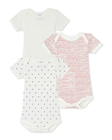 Set of 3 baby boy's printed, striped and plain bodysuits