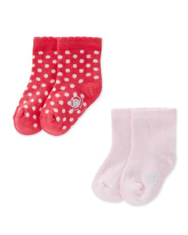 Set of 2 baby girls' socks