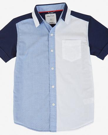 Boys' Contrast Color Short Sleeve Shirt (8-16)