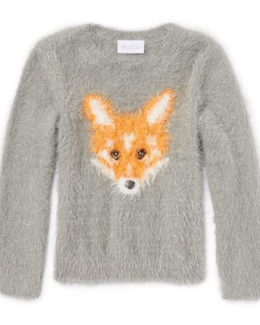 Girls Long Sleeve Animal Graphic Fuzzy Sweater