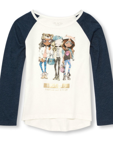 Girls Long Raglan Sleeve Embellished 'Be Yourself' Fashionista Graphic Top