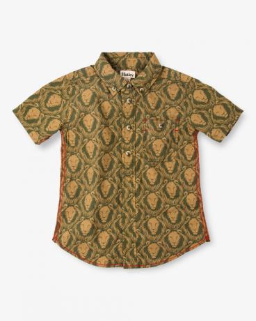 Lion Patterned Short Sleeve Shirt
