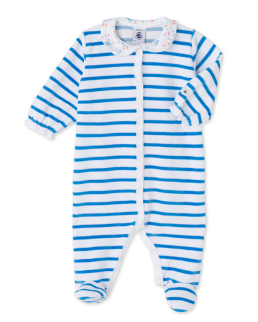 Baby girls' striped velour sleepsuit