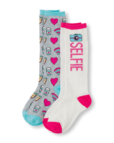 Girls 'Selfie' And Emoji Print Knee Socks 2-Pack