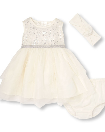 Baby Girls Sleeveless Sequined Mesh Dress Flower Headwrap And Bloomers Set