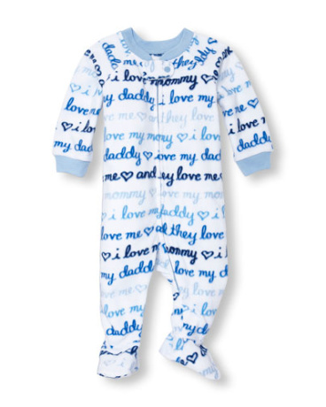 Baby And Toddler Boys Long Sleeve Family Love Print Footed One-Piece Sleeper