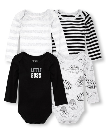 Baby Boys Long Sleeve Dino Stripe Bodysuit 4-Pack