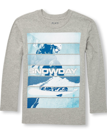 Boys Long Sleeve 'Snowday' Graphic Tee