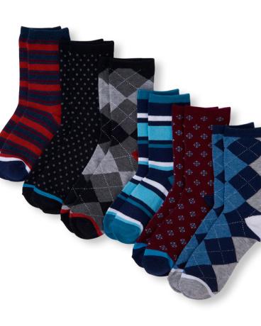 Boys Mixed Print Dress Crew Socks 6-Pack