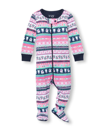 Baby And Toddler Girls Long Sleeve Critter Fair Isle Printed Footed Stretchie