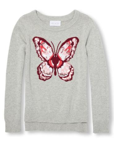 Girls Long Sleeve Embellished Graphic Hi-Low Sweater