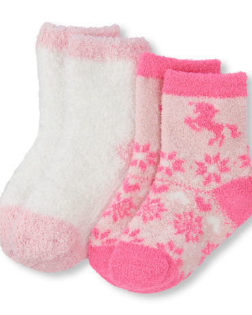 Toddler Girls Shimmery And Unicorn Print Cozy Socks 2-Pack