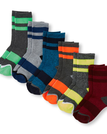 Boys PLACE Sport Striped Heathered Cushion Crew Socks 6-Pack