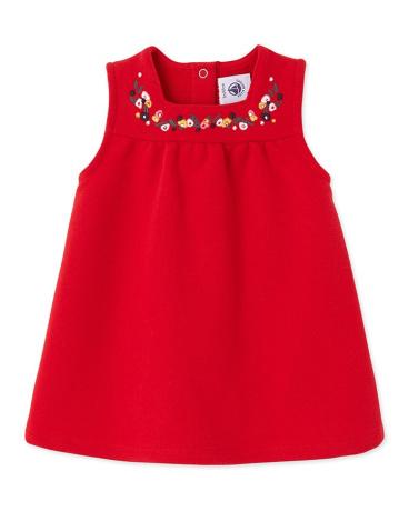 Baby girl's embroidered fleece dress