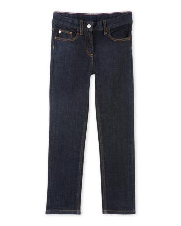 Girl's raw denim stretch jeans