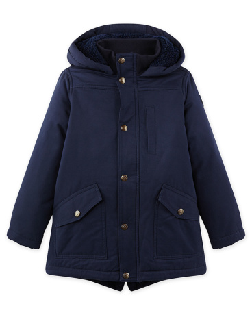 Boy's parka in coated canvas