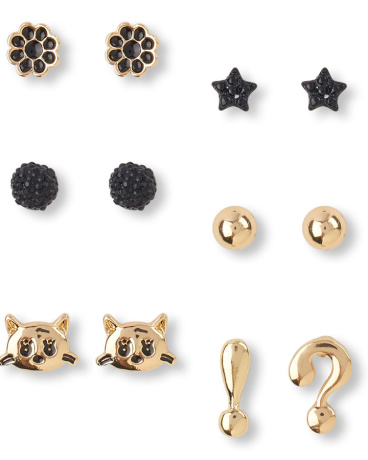Girls Black And Gold Charm Earrings 6-Pack