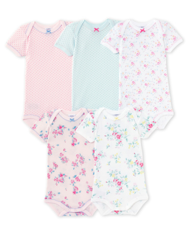 Pack of 5 baby girl bodysuits