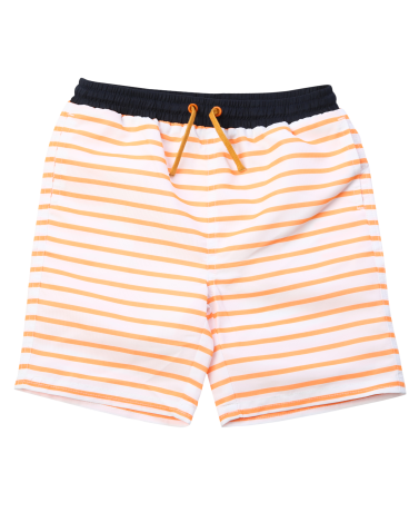 Boys Orange Stripe Drawstring Swim Trunk