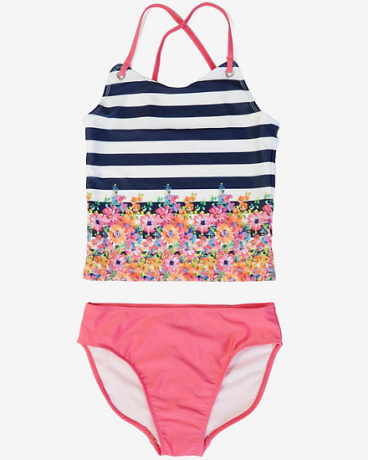 Little Girls' Striped Floral Tankini Swimsuit (2T-7)