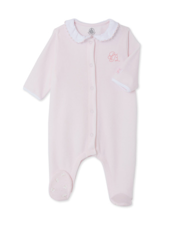 Baby girl velour sleepsuit
