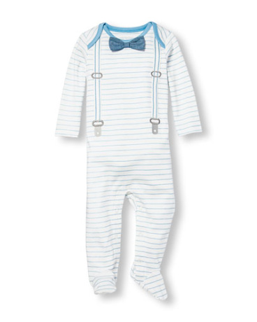 Baby Boys Layette Long Sleeve Bow Tie Dressy Striped Coveralls