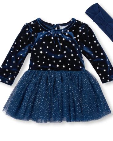 Baby Girls Long Sleeve Foil Star Printed Velvet Tutu Bodysuit And Bow Headwrap Set