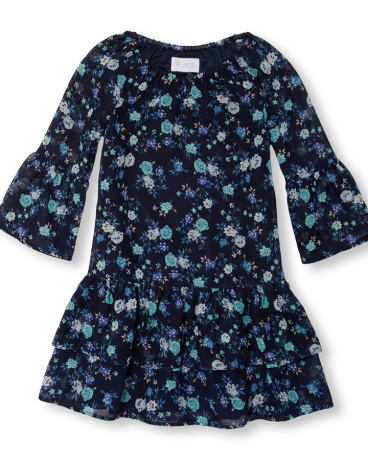 Girls Long Bell Sleeve Floral Print Tiered Dress