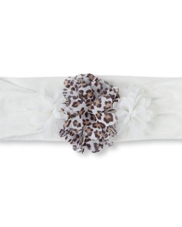 Baby Girls Leopard Chiffon Flower Headwrap