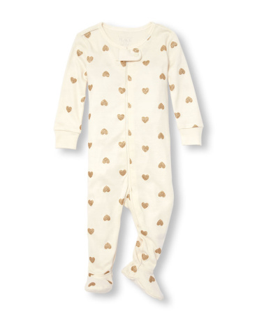Baby And Toddler Girls Long Sleeve Glitter Heart Print Footed Stretchie