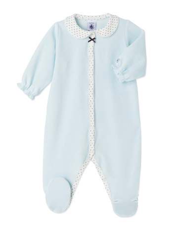 Baby girl's terry velour sleeper