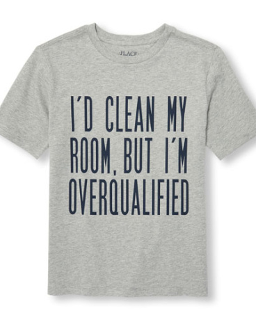 Boys Short Sleeve 'I'd Clean My Room But I'm Overqualified' Graphic Tee
