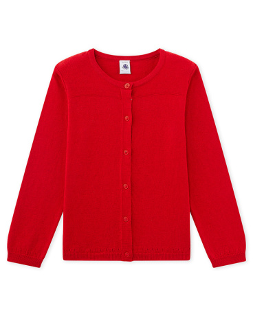 Girls' cardigan in wool and cotton