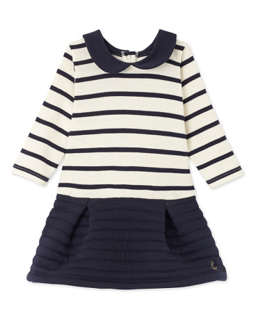 Baby girl's dual fabric striped dress