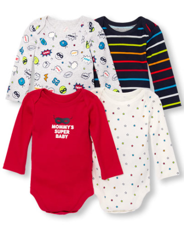 Baby Boys Long Sleeve 'Mommy's Super Baby' Bodysuit 4-Pack