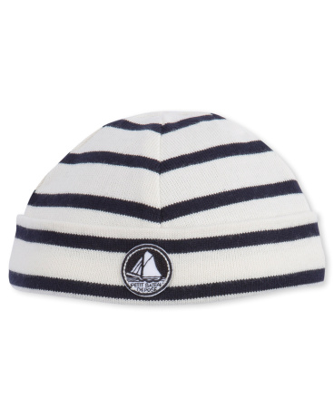 Baby boy's reversible striped beanie hat
