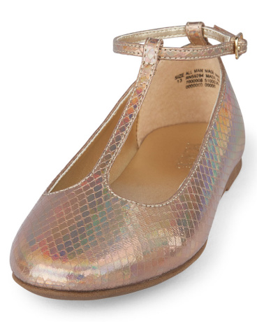 Girls T-Strap Iridescent June Flat