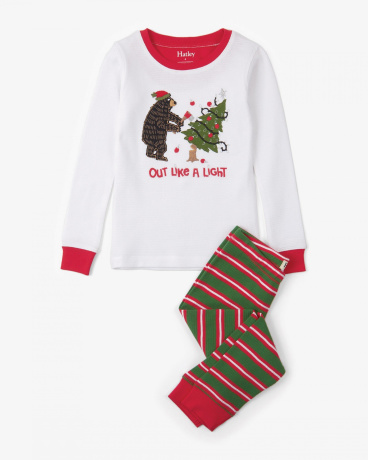 Santa Stripes Appliqué Waffle Organic Cotton Pajama Set