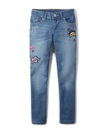 Girls Embellished Patch Super Skinny Jeans - Faded Indigo Wash