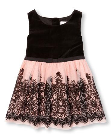 Toddler Girls Sleeveless Velvet Flocked Mesh Dress