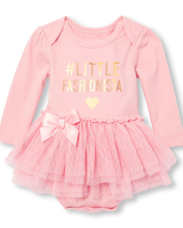 Baby Girls Long Sleeve Glitter Foil 'Hashtag Little Fashionista' Graphic Tutu Bodysuit