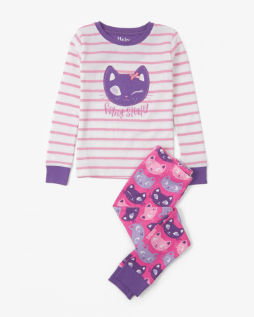 Silly Kitties Appliqué Organic Cotton Pajama Set