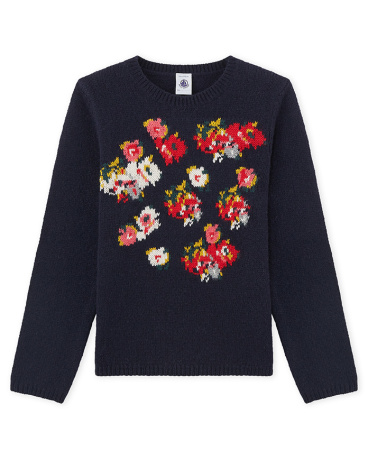 Girl's jacquard pullover in a wool blend