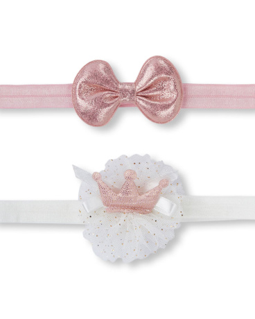 Baby Girls Bow And Crown Headwrap 2-Pack