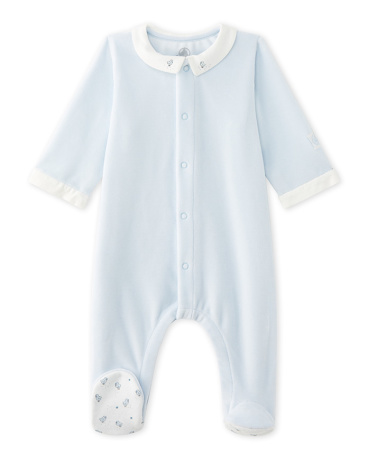 Baby boy's velours sleeper