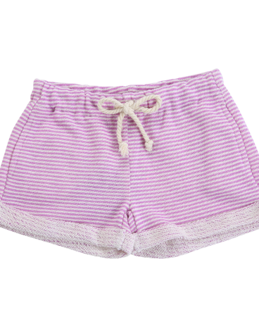 Girls Lavender Stripe French Terry Short