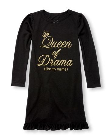 Girls Long Sleeve Glitter 'Queen Of Drama (Like My Mama)' Ruffle Nightgown